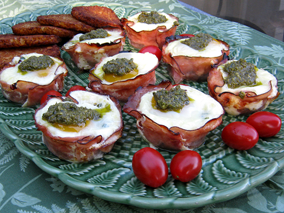 Eggs florentine in ham baskets with potato pancakes